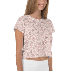 I'm a rare diamond All-Over Print Crop Tee - Nude Pink