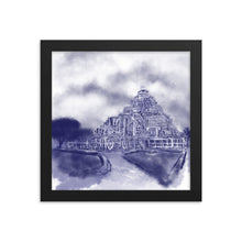 Konark temple watercolor in delft blue