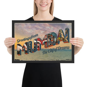 Vintage Postcard Greetings from Mumbai Framed Art Print