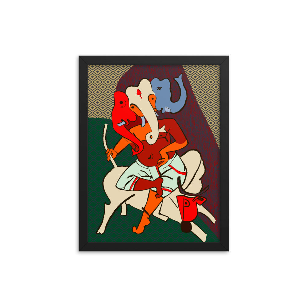 Indian Masters Collection - Ganesha by M F Hussain Framed poster