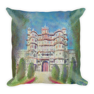 Indore Rajwada Impressionist Style Painting Square Pillow