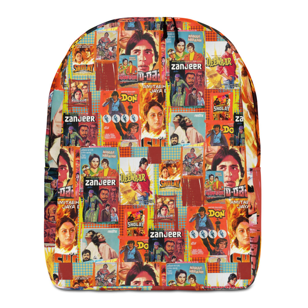 Amitabh bachchan vintage Bollywood posters Minimalist Backpack
