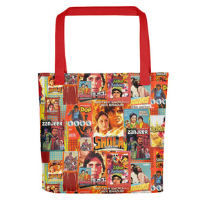 Amitabh Vintage Poster Collage Bollywood Tote bag