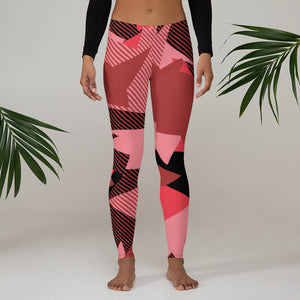 Coral Geometric Camo Leggings