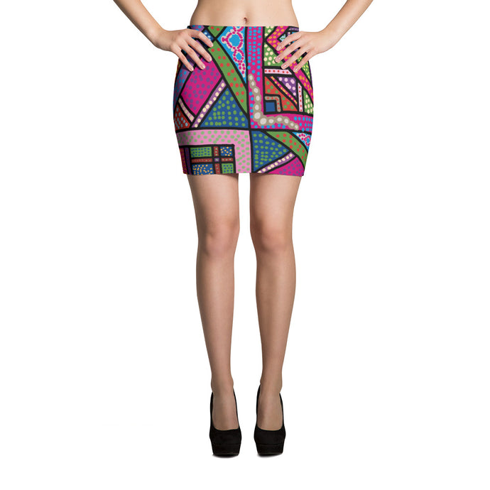 Folk pop art Mini Skirt