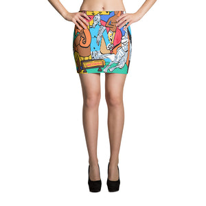 Mahabharat Pop Art Mini Skirt