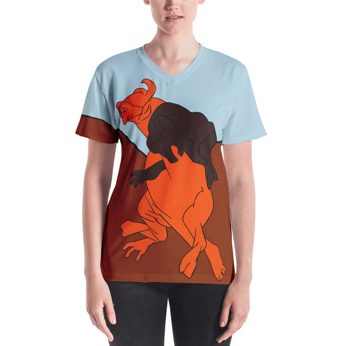 Bull Fight Women's V-neck T-shirt