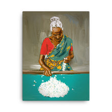 Flower girl Gajra maker on Canvas