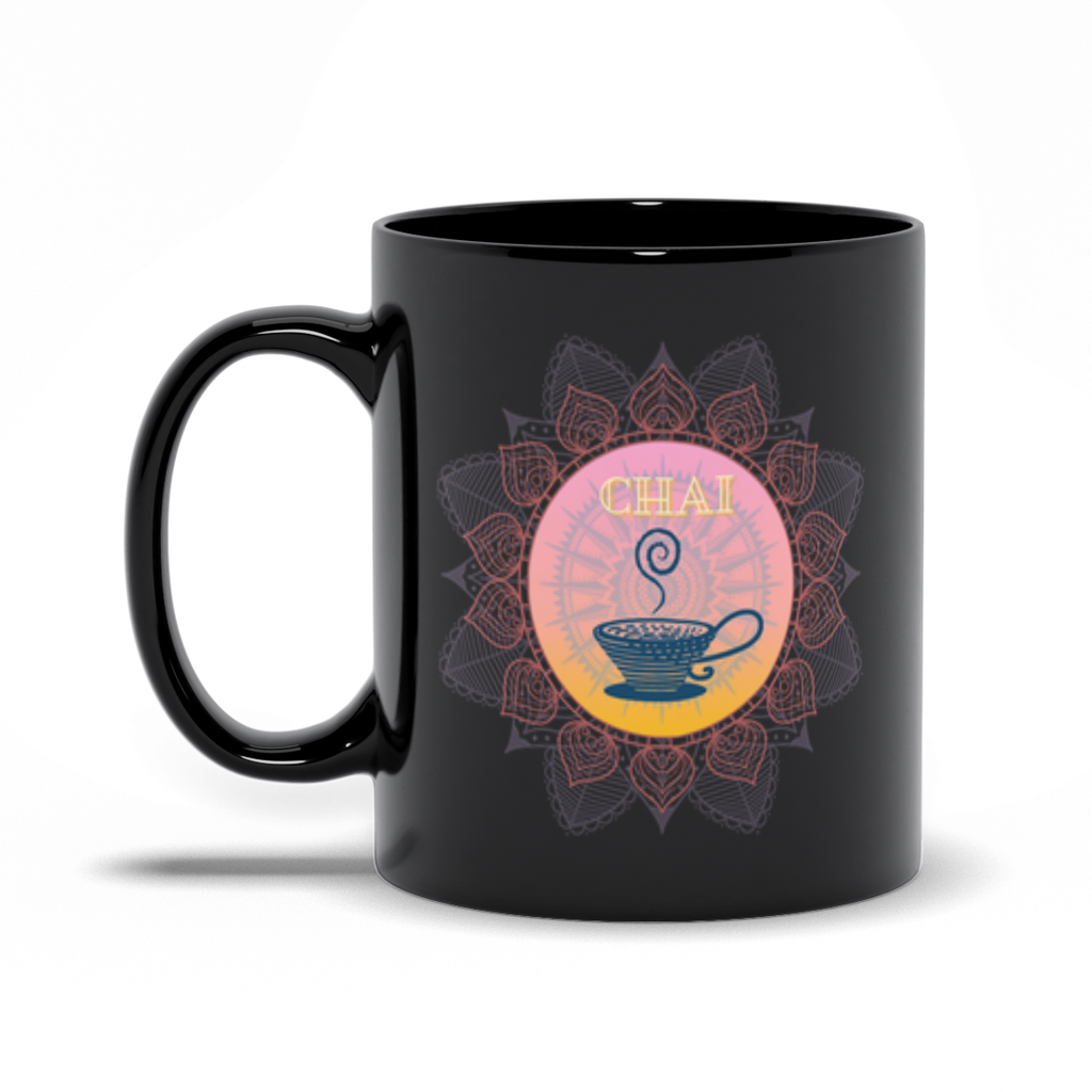 Pink Sunrise Chai Black Mug