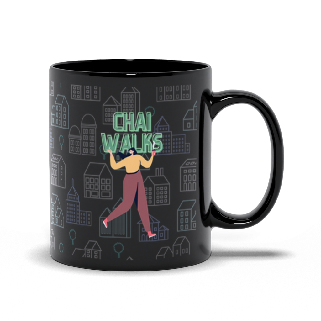 Chai Walks Black Mug