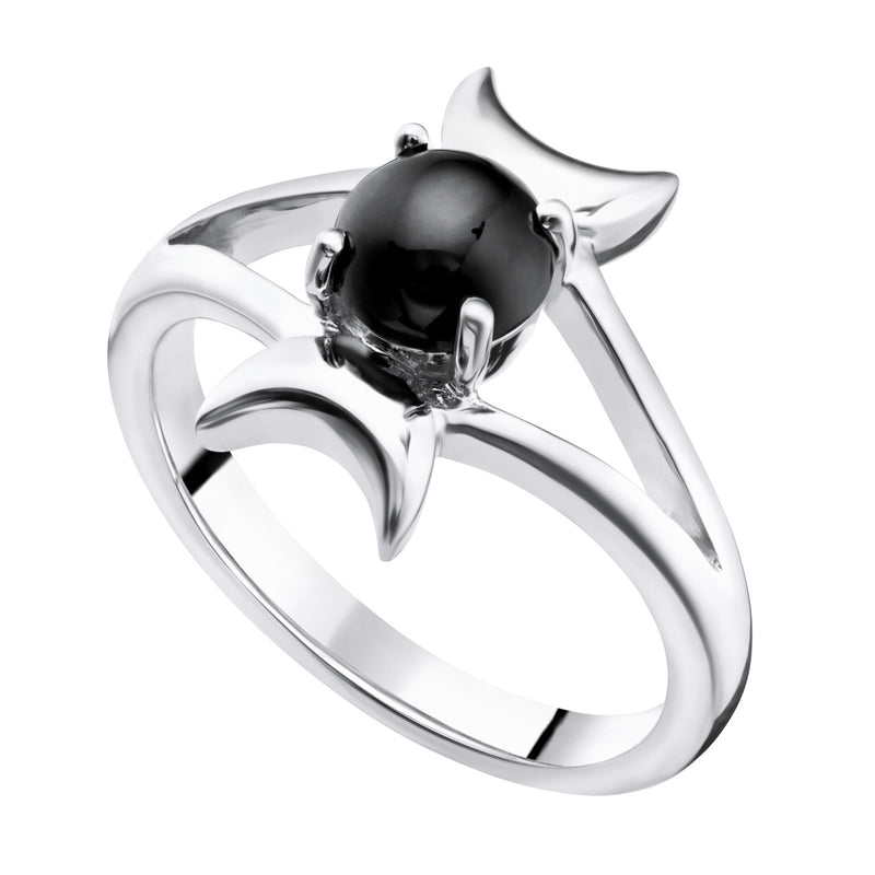 SELENE - ONYX & STERLING SILVER RING