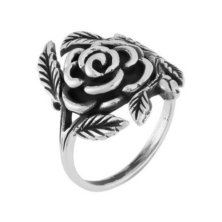 Sterling silver gothic rose ring alternative boho jewellery jewelry