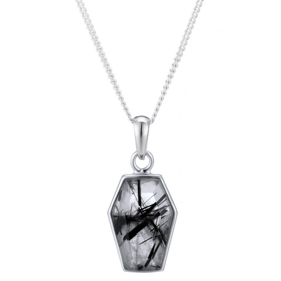 TILL DEATH - STERLING SILVER & BLACK RUTILATED QUARTZ NECKLACE