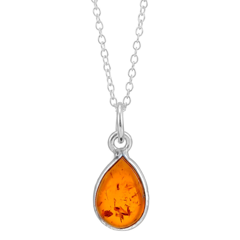 Amber sterling silver drop pendant necklace gemstone gothic witchy boho jewellery jewelry