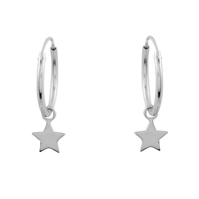 Sterling silver star charm sleeper earrings hoop alternative jewellery uk