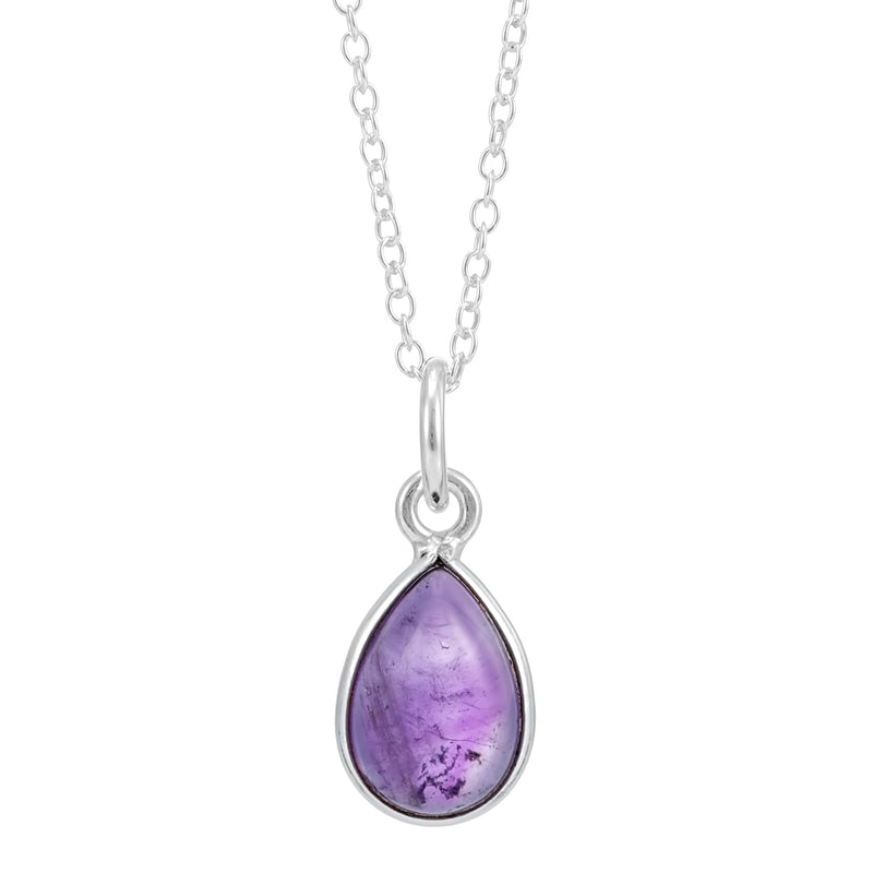 Sterling silver amethyst drop pendant necklace boho gothic alternative sterling silver gemstone jewellery jewelry