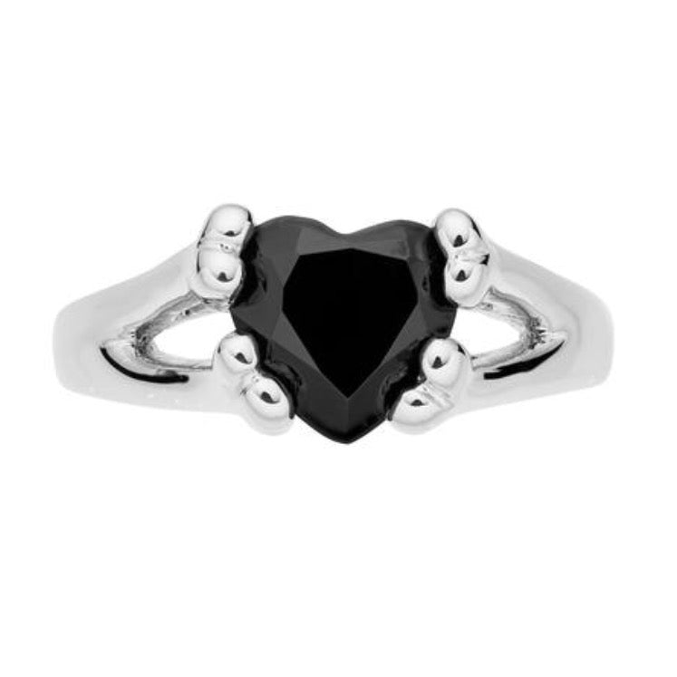 Sterling silver gothic alternative engagement ring onyx heart jewellery jewelry