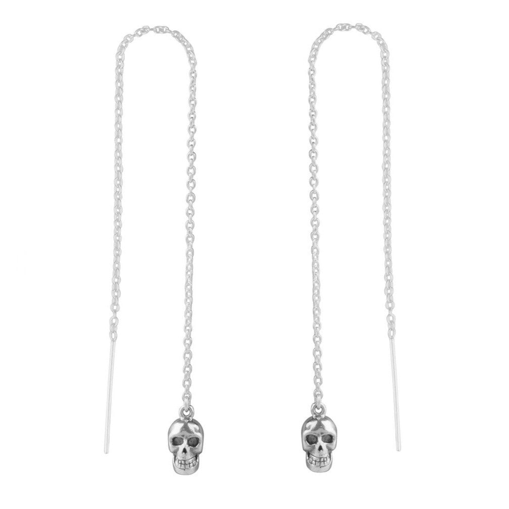 Sterling silver skull threader earrings gothic witchy tattoo alternative jewellery jewelry