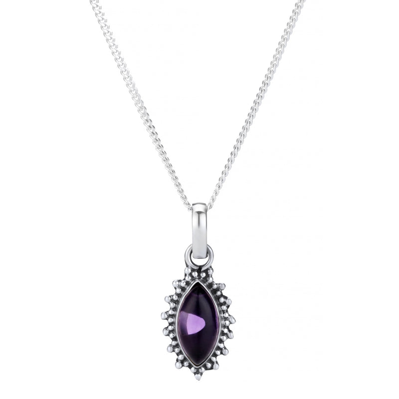 Sterling silver boho bohemian amethyst necklace gemstone jewellery