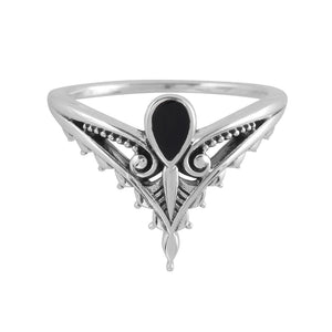 MYSTERY RING ~ STERLING SILVER & ONYX RING