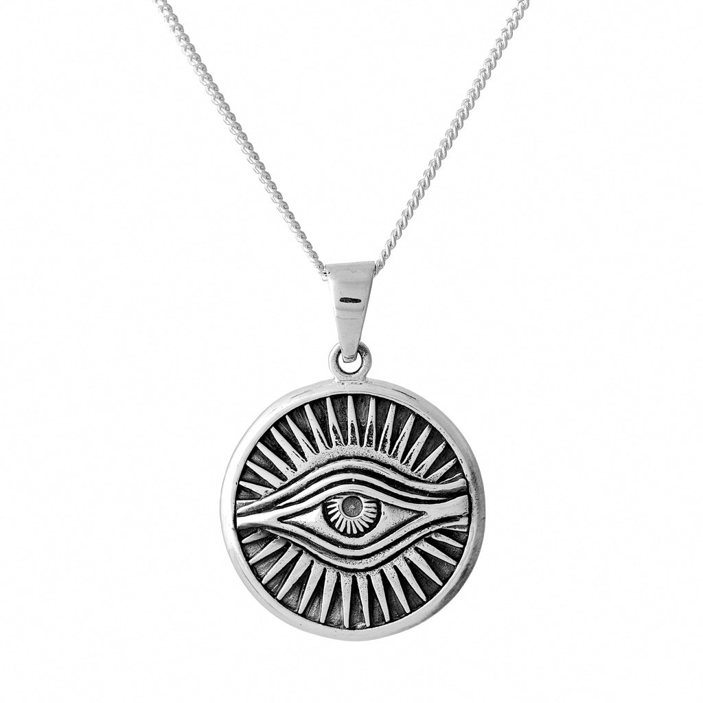 Sterling silver evil eye talisman necklace witchy alternative jewellery jewelry