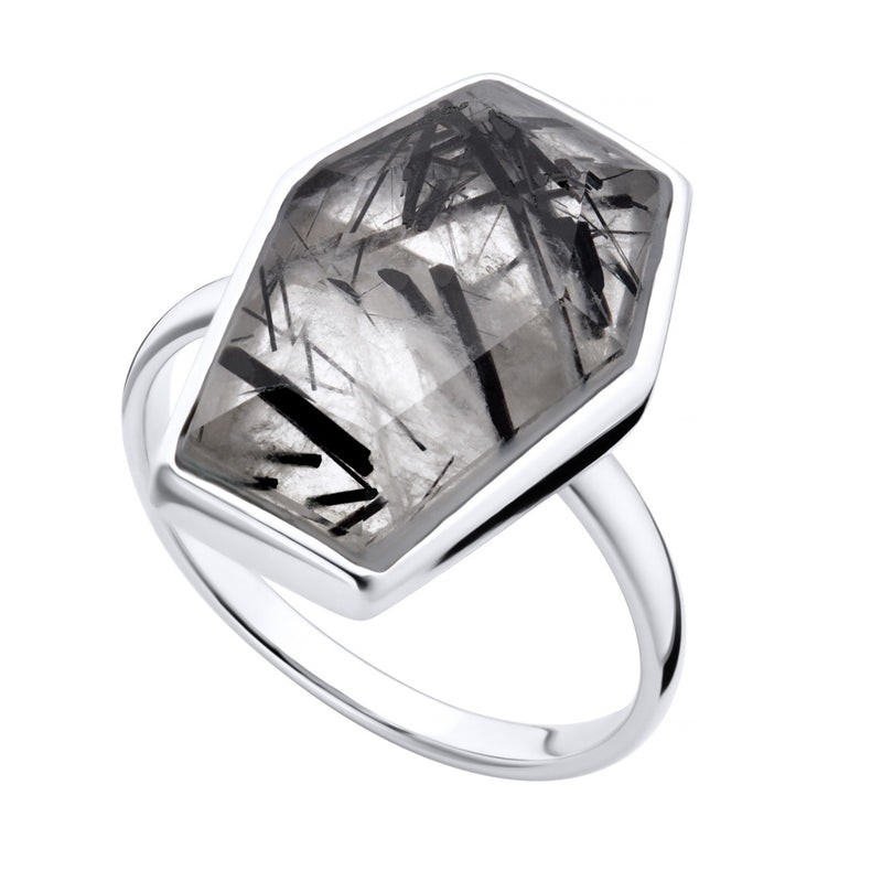 TILL DEATH - RUTILATED QUARTZ  & STERLING SILVER RING
