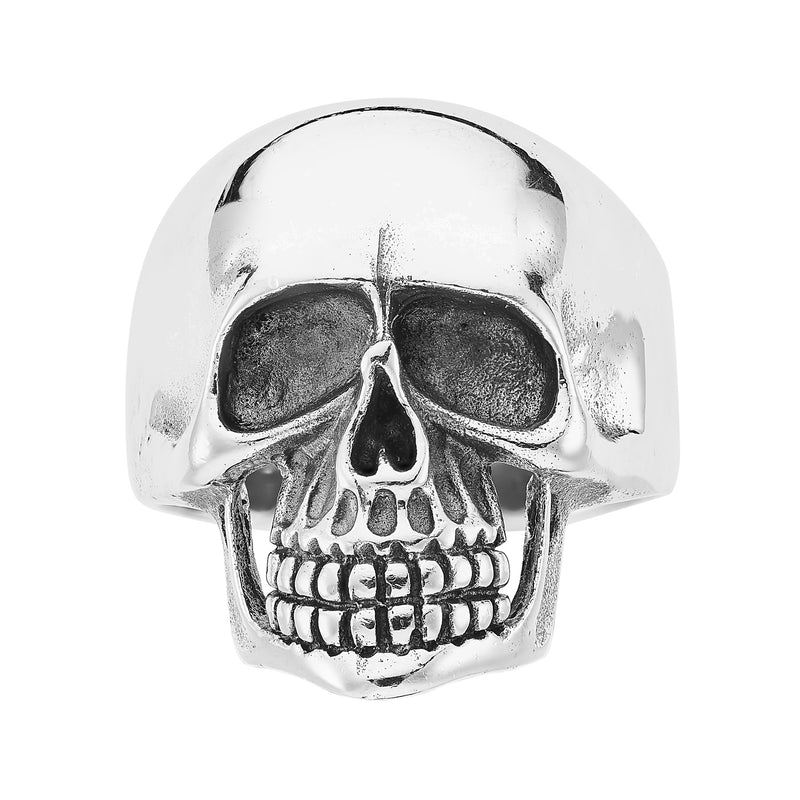 Sterling silver chunky skull ring biker gothic alternative jewellery jewelry