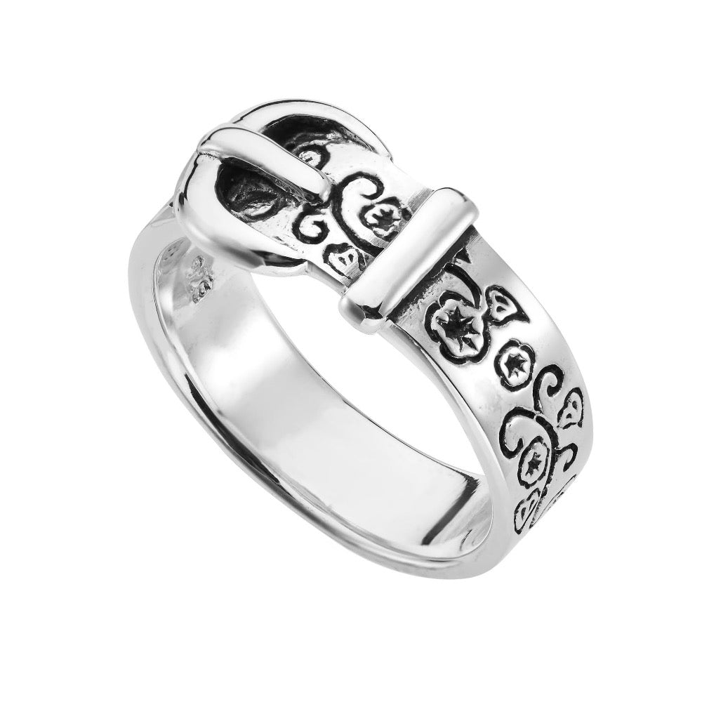 Sterling silver belt ring alternative tattoo biker jewellery jewelry