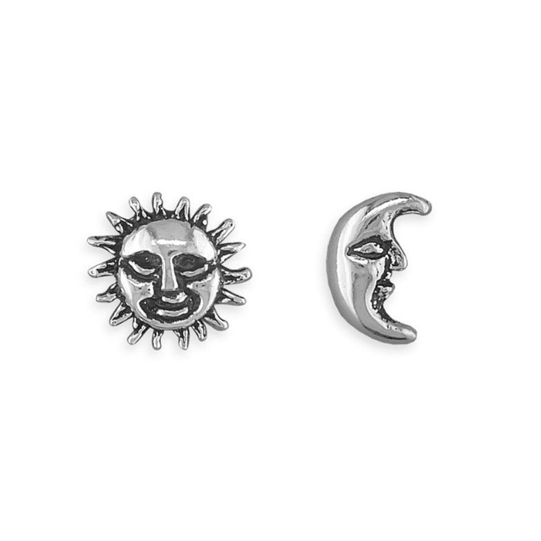 Sterling silver sun and moon studs boho bohemian witch gothic jewellery
