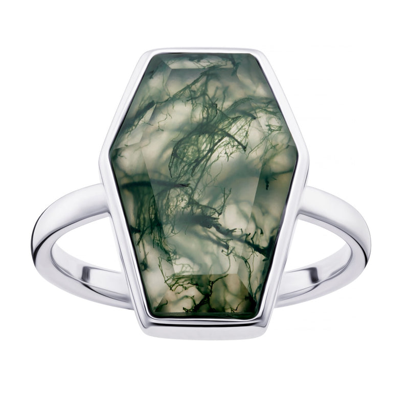 TILL DEATH - MOSS AGATE & STERLING SILVER RING