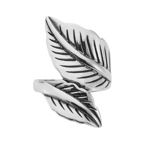 Sterling silver double leaf ring alternative witchy jewellery jewelry