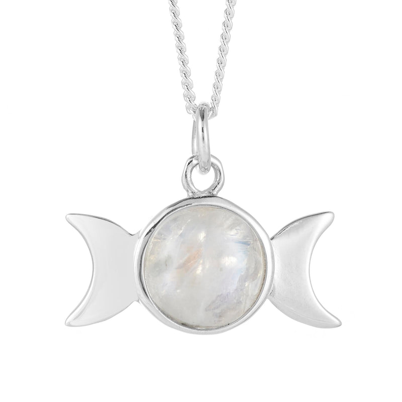Sterling silver moonstone triple moon witch pagan jewellery jewelry