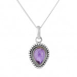 Sterling silver and amethyst boho bohemian necklace alternative jewellery