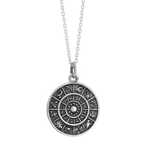 Sterling silver zodiac astrology necklace gothic alternative bohemian jewellery jewelry