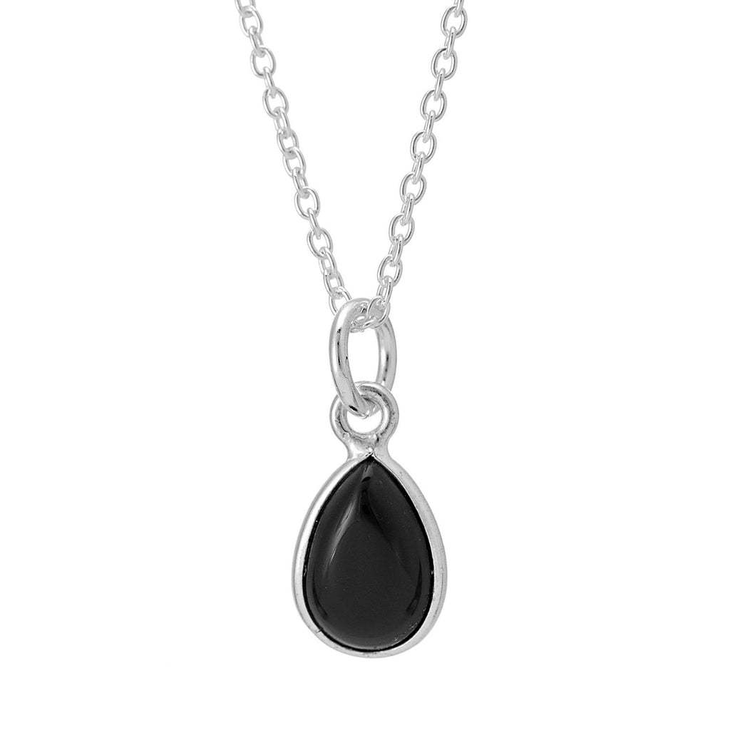 ONYX DROP ~ STERLING SILVER NECKLACE