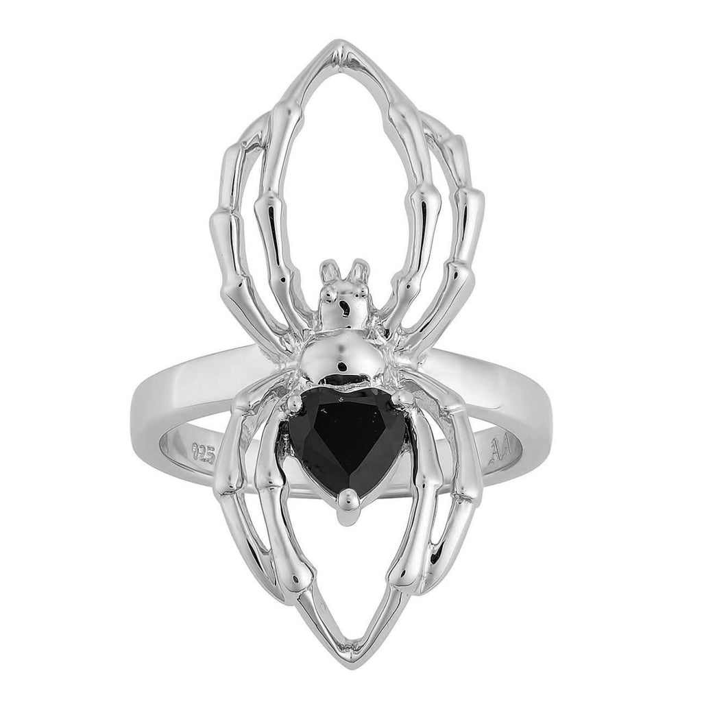 Sterling silver spider onyx gothic engagement ring alternative jewellery jewelry