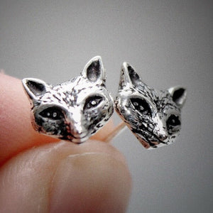 sterling silver quirky fox stud earrings gothic witch boho jewellery