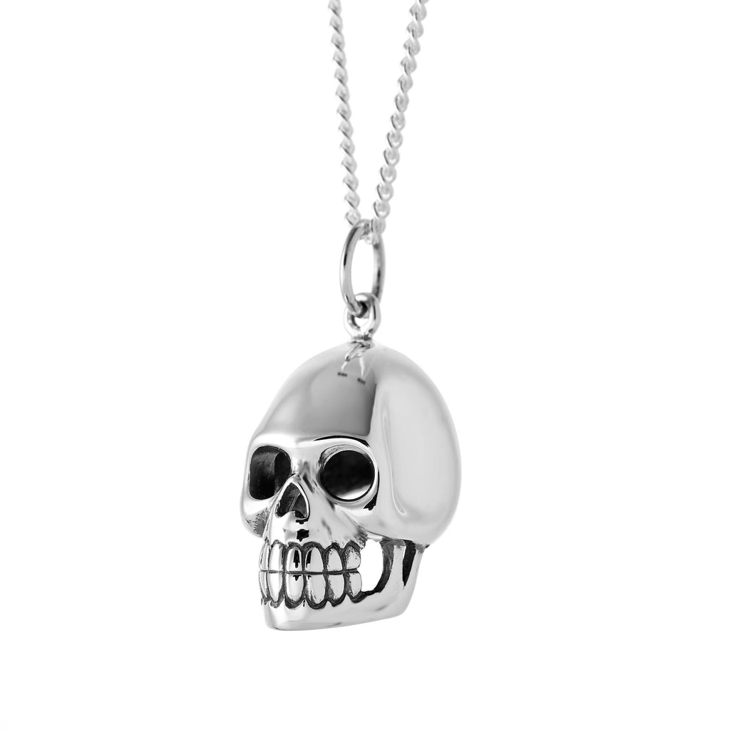 Chunky big sterling silver biker skull necklace gothic alternative jewellery