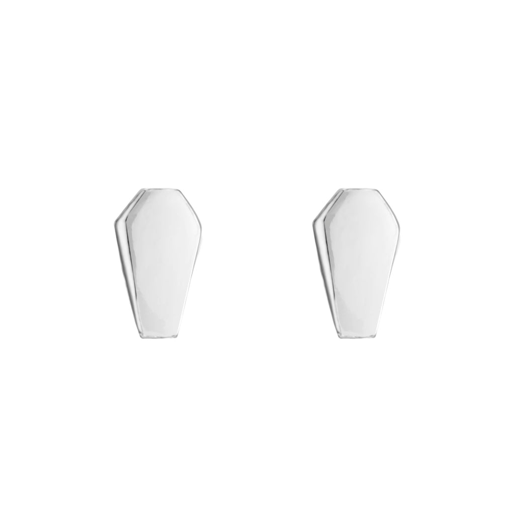 Sterling silver coffin casket stud earrings gothic alternative jewellery