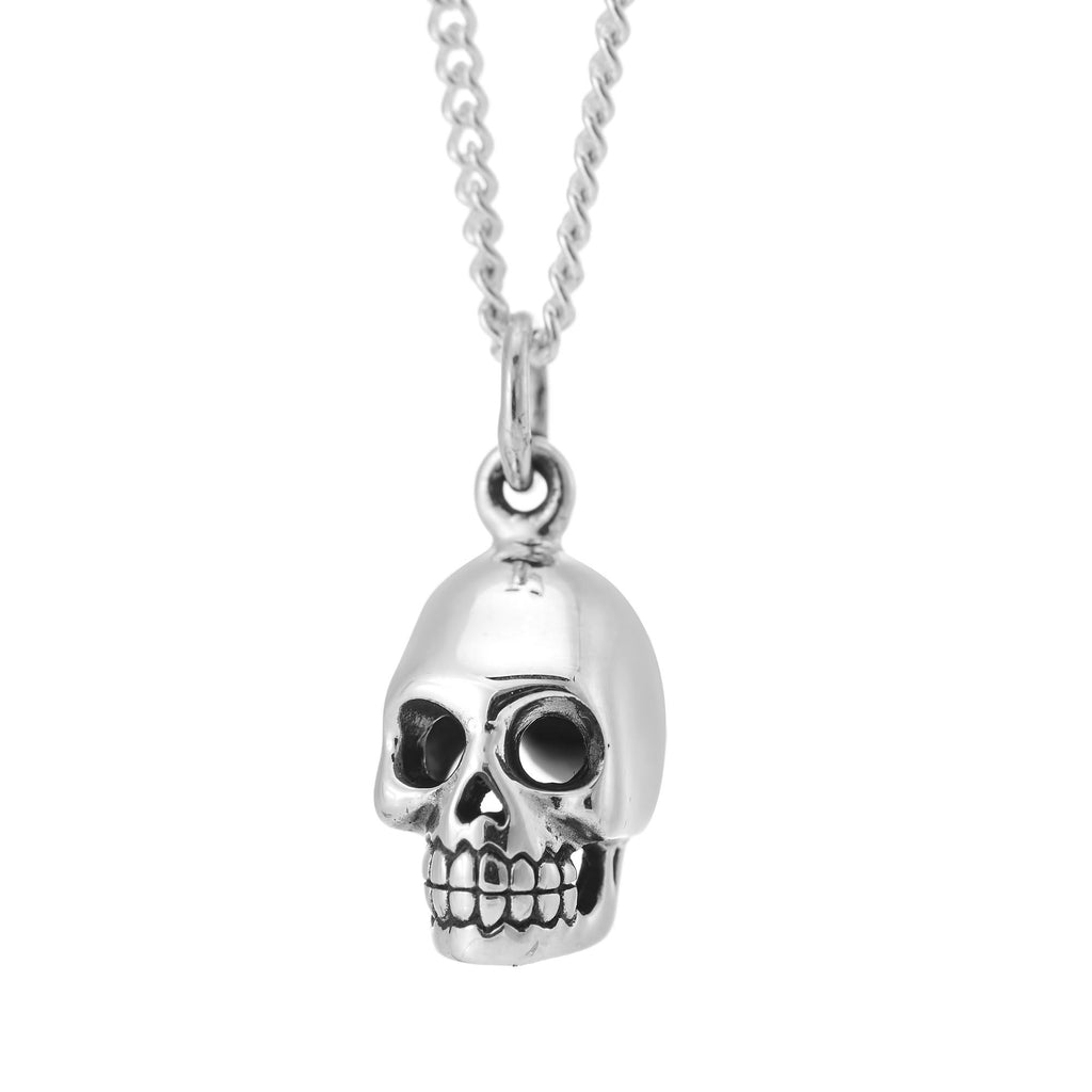 Sterling silver skull necklace gothic alternative tattoo inspired jewellery jewelry