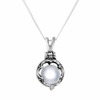 Sterling silver labyrinth crystal ball necklace witchy alternative jewellery jewelry