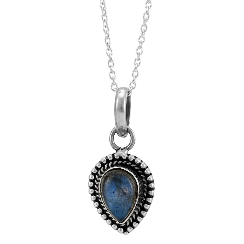 MIDNIGHT WATERS - STERLING SILVER LABRADORITE NECKLACE