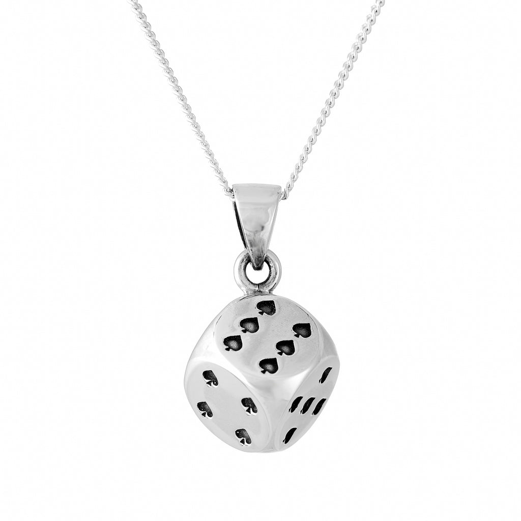 Sterling silver rockabilly dice necklace alternative gothic jewellery jewelry