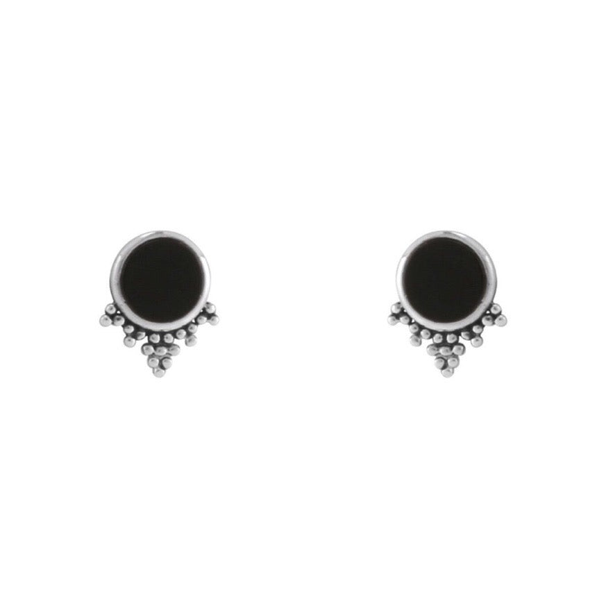 Sterling silver onyx boho witchy stud earrings