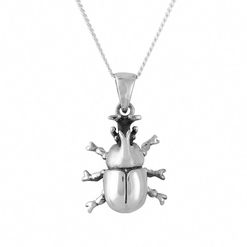 Sterling silver beetle insect necklace gothic alternative fashion jewellery jewelry