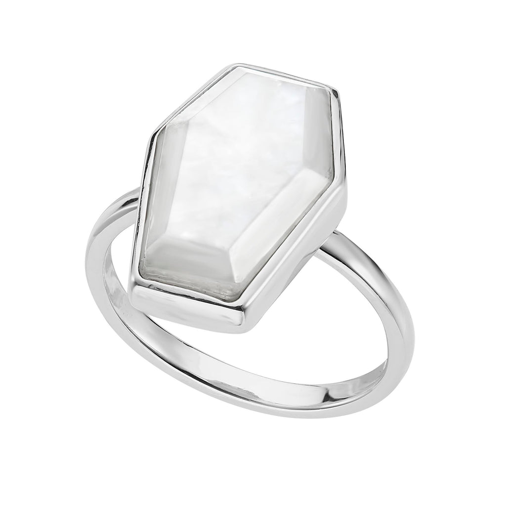 Moonstone sterling silver coffin ring alternative gothic ring