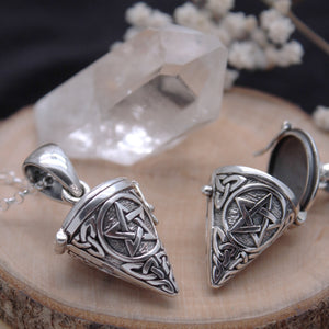 Sterling silver pentagram locket necklace witch witchcraft wicca jewellery apparel jewelry