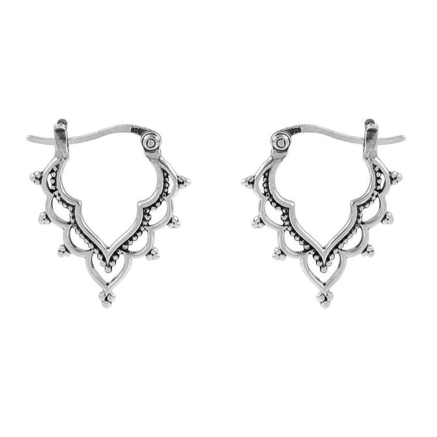 GOLDEN TEMPLE ~ STERLING SILVER HOOPS