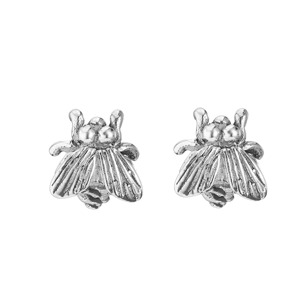 Sterling silver fly stud earrings unusual gothic and alternative jewellery