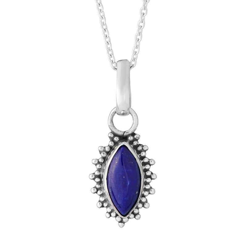 Sterling silver boho bohemian lapis gemstone pendant necklace jewellery jewelry